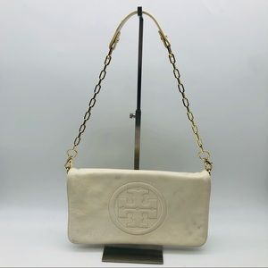 Tory Burch Reva Leather Clutch in Ivory